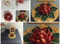 Rangoli from dry fruit shelll Pista shell flower art Courtesy:Lakshmi Samy Cd Crafts, Crafts To Do, Fall Crafts, Paper Crafts, Art N Craft, Craft Work, Plastic Spoon Art, Pista Shell Crafts, Pistachio Shells