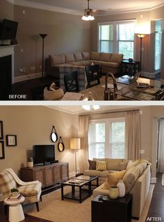 Before / After -- small living room layout Small Living Rooms, My Living Room, Home And Living, Living Room Designs, Living Room Decor On A Budget, How To Decorate Small Living Room, Tv Room Small, Living Room Curtains, Rearranging Living Room
