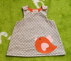 Baby girl spring dress, light brown and white polka dots toddler dress with orange felt chick