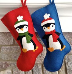 Handmade Wool Felt Christmas Stocking: Celebrate with Puffy Penguins at the Holidays!