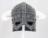 Skyrim Hat / Helmet, Crochet Grey Viking Helm with Horns,.