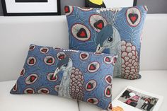 """""""Fresh Peacock Linen pillow cover,"""" by bestlove2u, via Etsy -- Someone likes the red and peacock blue combo! Have to say, it's growing on me bit by bit.  Click https://www.etsy.com/listing/128009893/marimekko-pillow-cover-modern-peacock for a peacock cushion in an even brighter combination of these colors."""