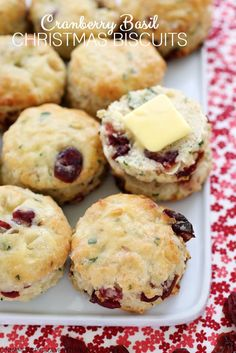 Tender savory biscuits speckled with chewy dried cranberries and fresh basil. With their festive colors, they make the perfect Christmas biscuit!