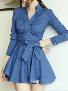 V Neck Button Closure Denim Skater Dress Classy Outfits, Cool Outfits, Casual Outfits, Jean Outfits, Denim Skater Dress, Jeans Dress, Casual Dresses, Fashion Dresses, Minimalistic Style