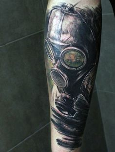 Black And Green Toxic Gas Mask Mens Tattoo Ideas On Arm
