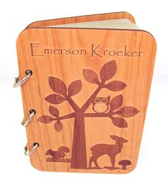 Woodland Baby Shower Guest Book Real Wood by memoriesforlifesb
