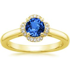 18K Yellow Gold Sapphire Fleur Diamond Ring (1/4 CT. TW.) from Brilliant Earth