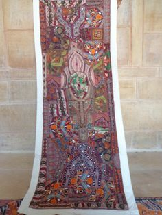 INDIAN BEADED WALL HANGING TAPESTRY ETHNIC THROW VINTAGE PATCHWORK DECOR ART