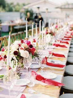 Chinese-American Wedding at the Biddle Ranch Vineyard Red Centerpieces, Winter Wedding Centerpieces, Wedding Aisle Decorations, Wedding Table Settings, Fall Wedding Colors, Red Wedding, Berry Wedding, Wedding Ideas, Wedding Themes