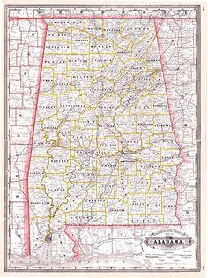 Tunison\'s Georgia and South Carolina. 1883. Bright map showing ...