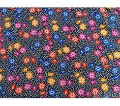 """Coton """"Vintage"""" Fleurs fond noir"""