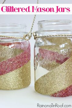 Want to update the look of your mason jars a bit? Learn how to glitter mason jars in 30 minutes or less. These are perfect for lanterns! via RainonaTinRoof.com