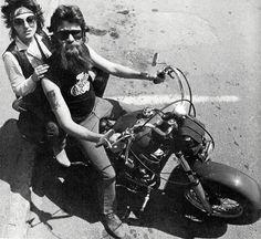 1970s biker couple