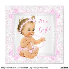 Baby Shower Girl Lace Damask Pink Blonde Invitation