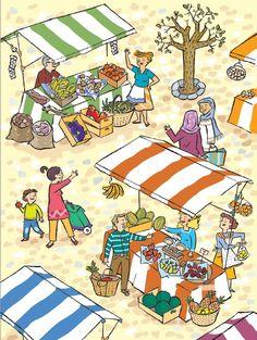 thema: boodschappen doen. Wat is het verschil tussen een markt en een winkel?