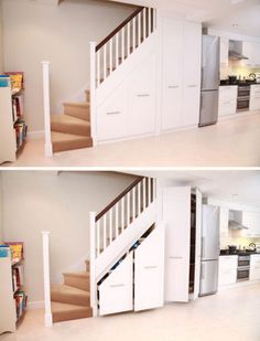 Love, love, LOVE this! What a great way to use wasted space under the stairs!