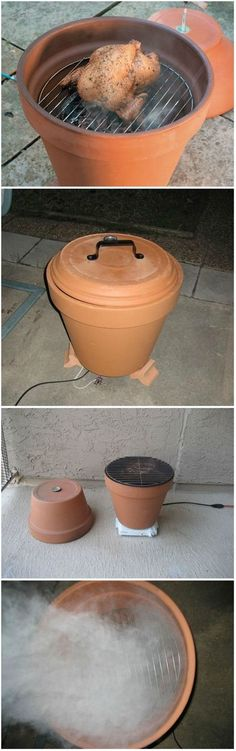 DIY Clay Pot Smoker,do bbq cooker same way. Clay Pot Crafts, Diy Clay, Outdoor Projects, Diy Projects, Easy Garden, Upcycled Garden, Repurposed, Garden Ideas, Terracotta Pots