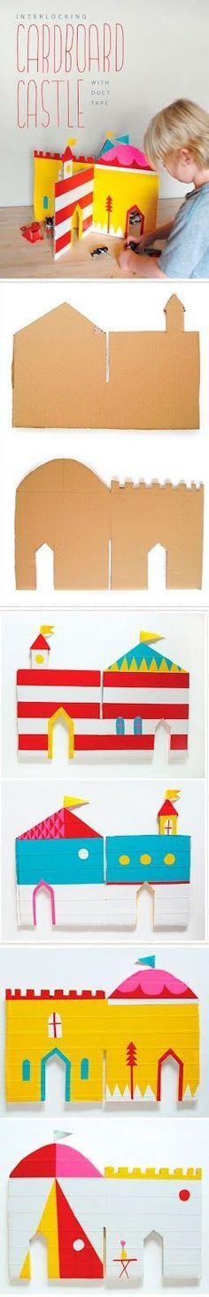 great for Montessori dioramas like infancy narratives. DIY Interlocking cardboard castle for all little knits and princess Cardboard Castle, Cardboard Crafts, Paper Crafts, Cardboard Houses, Projects For Kids, Diy For Kids, Crafts For Kids, Craft Projects, House Projects