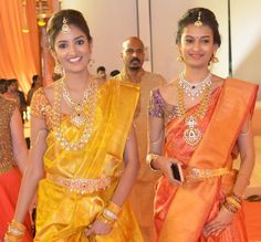 Pretty girls in trendy traditional jewelry at Swathi Nimmagadda wedding. left: The lady wearing traditional ram leela haram with diamond...