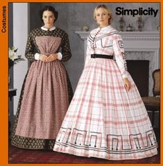 Simplicity 7212 Misses Civil War Day Dress by LilBitofMamaTime, $13.00  OOOH, I LOVE THE ONE ON THE LEFT!  IT IS SLENDERIZING.  USE THE CALICO PRINT DARKER COLOR UNDERNEATH WITH A LIGHTER LOOK ON TOP.  NOT TOO FLARED EITHER.  WOULD BE A GREAT WORK DRESS FOR GAMBLE PLANTATION KITCHEN.