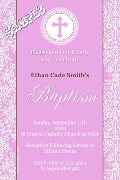 Elegant Pink 1st First Holy Communion Invitations - Digital Download - Get these invitations RIGHT NOW. Design yourself online, download and print IMMEDIATELY! Or choose my printing services. No software download is required. Free to try!