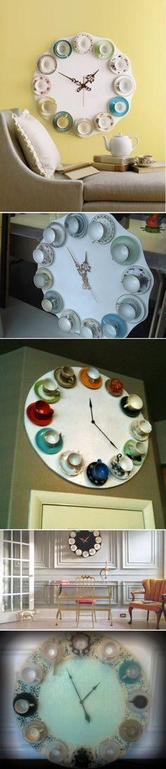 DIY Cool Teacup Clocks; there's a second-hand store, aka, 'vintage' shop nearby that might be the source for the materials.