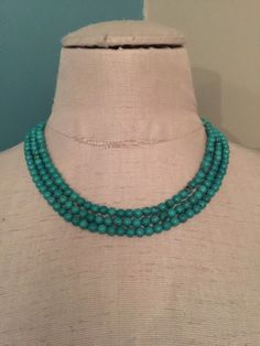 """Gorgeous Turquoise Bead Triple Strand Necklace 18"""" Sterling Silver Clasp #Unbranded #Statement"""