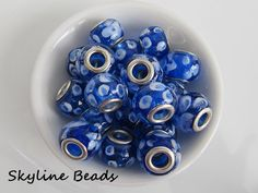 European Lampwork Glass Beads, Handmade, Blue with Abstract Spots, Silver Plate Brass Double Core