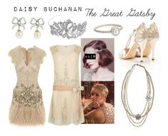 """""""Daisy Buchanan - The Great Gatsby"""" by costume-creativity ❤ liked on Polyvore featuring Bling Jewelry, Irene Neuwirth, outfit, TheGreatGatsby, 1920s, daisybuchanan and costumecreativity"""