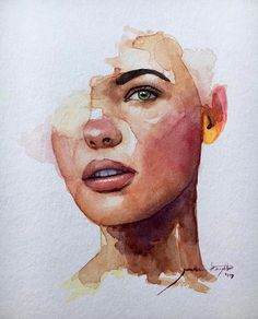 Beautiful portrait by Watercolor Portrait Tutorial, Watercolor Portraits, Watercolor Art Face, Watercolor Illustration, Arte Sketchbook, Art Academy, Art Drawings Sketches, Aesthetic Art, Portrait Art