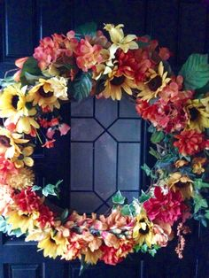 Sunflower Wreath Fall Decor Grapevine Front by BlessMyNestShop