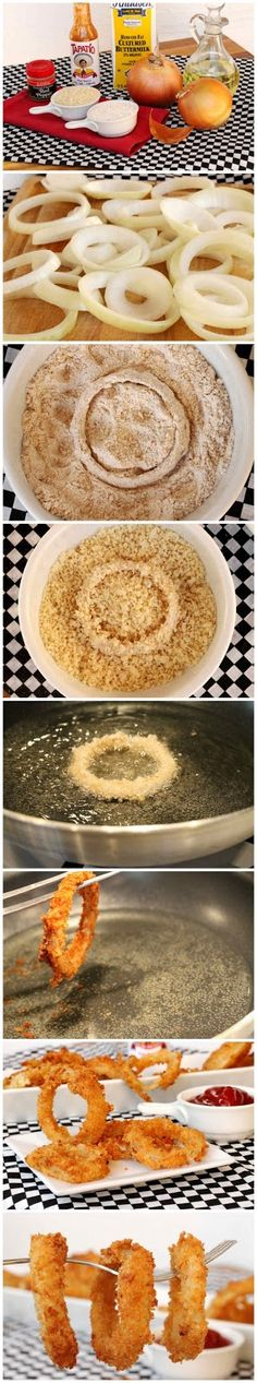 Crispy Onion Rings Recipe Ingredients: 2 Yellow Onions (medium to large round shaped) 2 cups Whole Wheat Pastry Flour 2 cups Panko Bread Crumbs 2 ½ cups Buttermilk 2 teaspoons Ground Red Pepper (Ca...