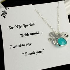 Bridesmaid Gifts Necklace With Thank You by anatoliantaledesign, $36.00