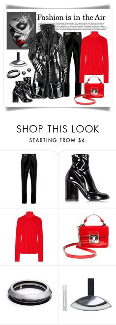 """""""Burberry Prorsum Patent Leather Coat Look"""" by romaboots-1 ❤ liked on Polyvore featuring MSGM, Burberry, Marc Jacobs, Dion Lee, Steve Madden, Alexis Bittar, Calvin Klein and Judith Hendler"""