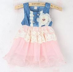 READY TO SHIP Infant Girls Pink Tutu Dress Denim Lace Waist With Flower Corsage | Rudelyn's Sari Sari Store