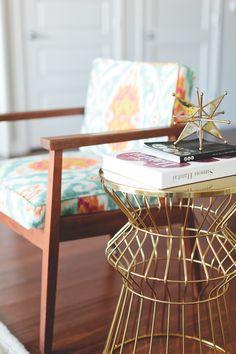 Orange Ikat Upholstery Fabric Teal Orange Ikat by greenapplefabrics on Etsy --- Colby Burlingame's Atlanta Apartment Tour Living Room Inspiration, Home Decor Inspiration, Decor Ideas, Wire Side Table, Atlanta Apartments, Bedroom Orange, Home Goods Decor, Room Setup, Cozy House
