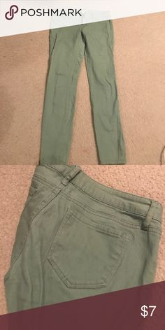 Green skinny jeans Skintight colored pants size 8. 98% cotton and 2% spandex so very comfortable refuge Pants Leggings