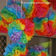 Rainbow tissue paper Pompoms - easy DIY craft, party decoration, tutorial - My Brown Paper Packages Rainbow Unicorn Party, Rainbow Birthday Party, Rainbow Theme, Unicorn Birthday, Kids Rainbow, Chevron Birthday, Rainbow Chevron, Rainbow Paper, Colorful Birthday