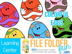 Download Game Game Play:  Choose an Easter Egg and find the match!  Look closely, each egg has two different colors to match. Game Assembly: Print two sets of each egg.  Mount one egg to the file f...