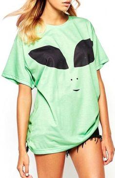 e01fb5d9 Over-sized Green Alien Shirt