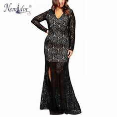 9af3ec2b999de Women Sexy V-neck Vintage Plus Size Dress 7XL 8XL 9XL Long Sleeve Party Lace