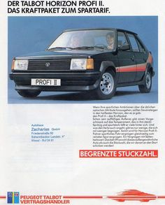 1983 Talbot Horizon Profi (Profile) II. A limited edition for the German market. Here is a list of the extras for this model: http://talbot-simca.de/Modelle/Talbot/sonderserien/HorizonProfilII.html