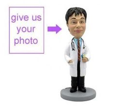 Custom sculpted smart doctor figurine is all ready to go for his daily rounds. Classic personalized gift for a doctor.