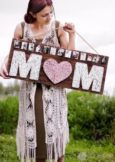 Cool Gifts to Make For Mom - Mom String Art With Pictures - DIY Gift Ideas and Christmas Presents for Your Mother, Mother-In-Law, Grandma, Stepmom - Creative , Holiday Crafts and Cheap DIY Gifts for The Holidays - Thoughtful Homemade Spa Day Gifts, Creative Wall Art, Special Ideas for Her - Easy Xmas Gifts to Make With Step by Step Tutorials and Instructions http://diyjoy.com/cheap-holiday-gift-ideas-to-make #artsandcraftsgifts, #EverydayArtsandCrafts