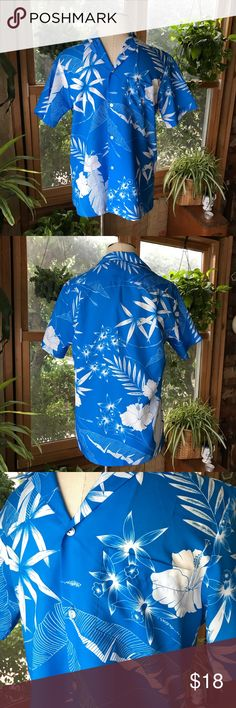 VTG Blue Hawaiian Shirt Genuine, Made in Hawaii, button up shirt with pocket. Tropical palm, banana leaf and hibiscus print. 70's or 80s.  EUC, no rips, stains or holes. Ships within one day from California ✨ Vintage Shirts Casual Button Down Shirts