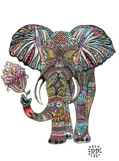 Elephant Art Print by Rylee Postulo, Ink Illustration, Watercolour Painting, Wedding Gift, Mothers Day, 8x10, Doodle Drawing
