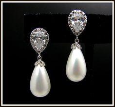 wedding bridal jewelry bridesmaid gift teardrop white or cream shell pearl earrings with cubic zirconia deco teardrop post earrings