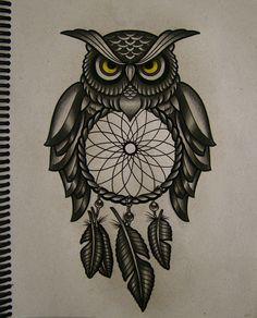 owl dreamcatcher tattoo meaning Owl Tattoo Design, Mandala Tattoo Design, Tribal Tattoo Designs, Sexy Tattoos, Trendy Tattoos, Hand Tattoos, Sleeve Tattoos, Owl Tattoo Small, Colorful Owl Tattoo