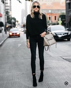 All Black Outfit - Fall Outfit - Black Booties & Cozy Sweater