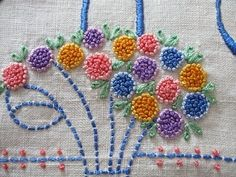 French Knots Vintage Runner Linen Table Centerpiece Embroidery Flowers.. I loved making the french knots.  B.